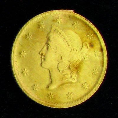17: 1852 $1 U.S. Liberty Head Type Gold Coin-Investment