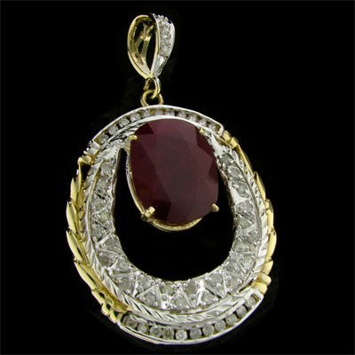 19: APP: 79.2k 14 kt. Gold, 28.36CT Ruby and Diamond Pe