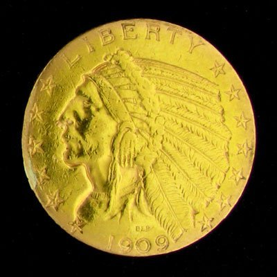 43: 1909 $5 U.S. Indian Head Type Gold Coin-Investment