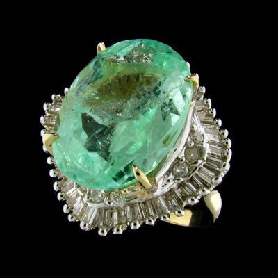 55: APP: 18k 14 kt. Y/W Gold, 12.53CT Green Beryl and D