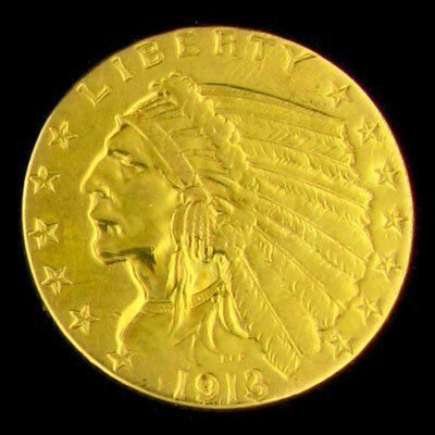 1: 1913 $2.5 U.S. Indian Head Type Gold Coin-Investment