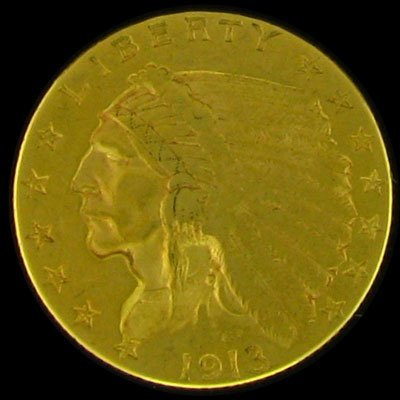 13: 1913 $2.5 U.S. Indian Head Type Gold Coin-Investmen