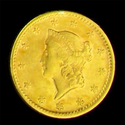 37: 1852 $1 U.S. Liberty Head Type Gold Coin-Investment