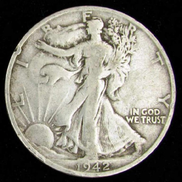 35: 1942-S U.S. Walking Liberty Half Dollar Coin-Invest