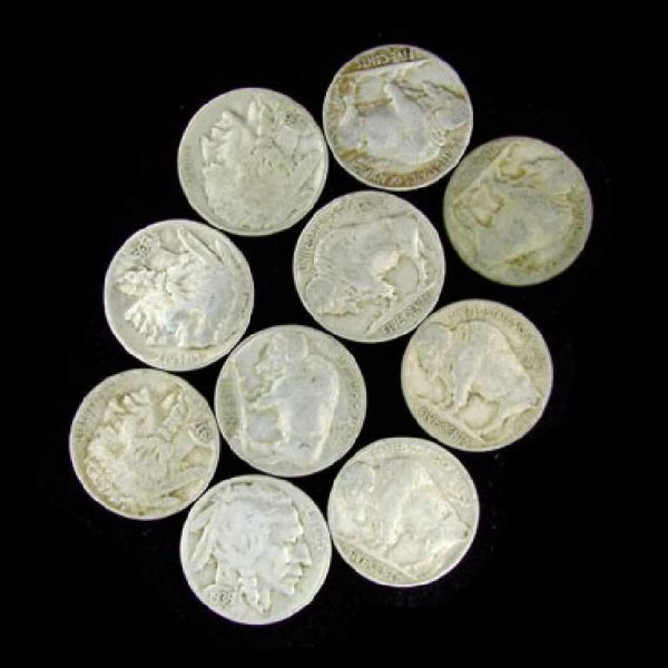 41: 10 Misc. U.S. Buffalo Type Nickel Coin-Investment P
