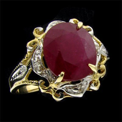 25: APP: 8.3k 14 kt. Gold, 3.98CT Ruby and Diamond Ring
