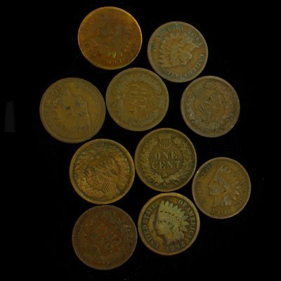 29: 10 Misc. U.S. Indian Head Type One Cent Coin-Invest