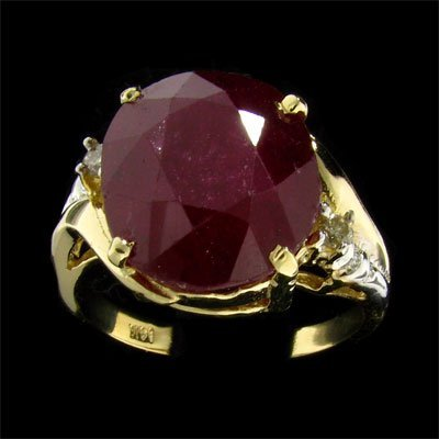 37: APP: 9.1k 14 kt. Gold, 12.25CT Ruby and Diamond Rin
