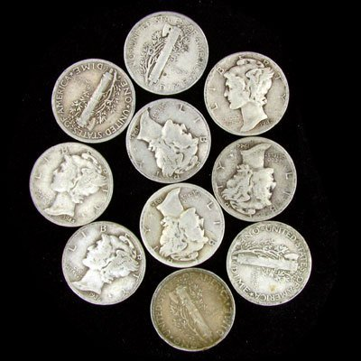 41: 10 Misc. U.S. Mercury Type Dime Coin-Investment Pot