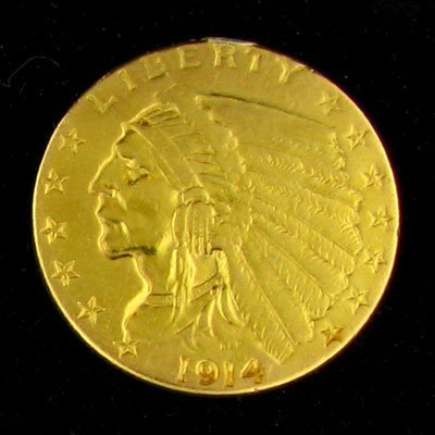 91: 1914 $2.5 U.S. Indian Head Type Gold Coin-Investmen