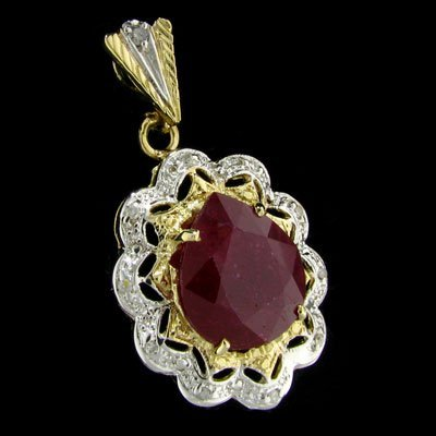 133: APP: 28.4k 14 kt. Gold, 10.10CT Ruby and Diamond P