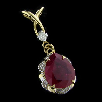 43: APP: 14k 14 kt. Gold, 6.81CT Ruby and Diamond Penda