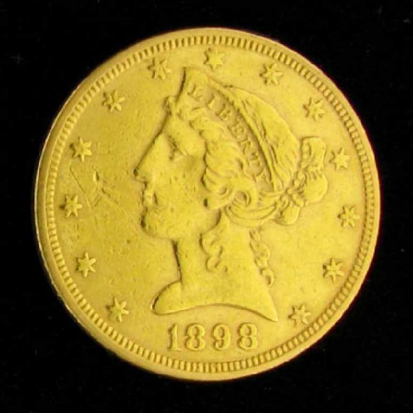 25: 1898 $5 U.S. Liberty Head Type Gold Coin-Investment