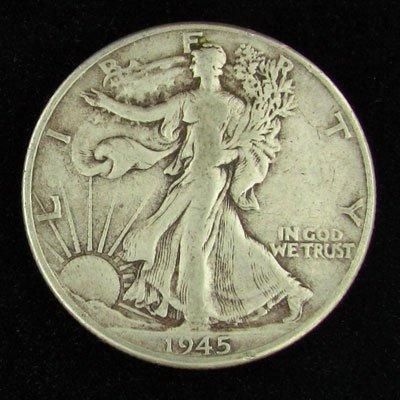 7: 1945 U.S. Walking Liberty Half Dollar Coin-Investmen