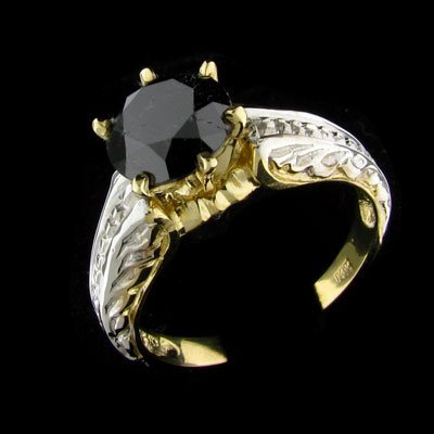 11: APP: 3.7k 14 kt. Y/W Gold, 2.13CT Rare Black Diamon