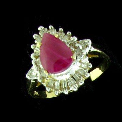 25: APP: 3.5k 14 kt. Gold, 1.10CT Ruby & Diamond Ring-P