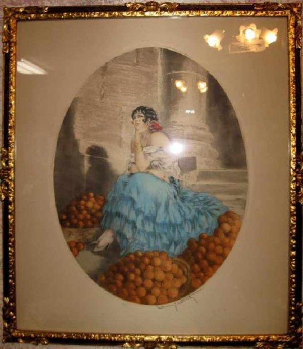 2: Louis Icart Lithograph ''''The Orange Seller''''-Sta
