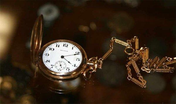 268: Waltham Gold Filled Pocket Watch-Embossed
