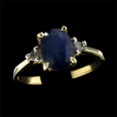 1: APP: 1k 14 kt. Gold, 1.39CT Sapphire and Diamond Rin