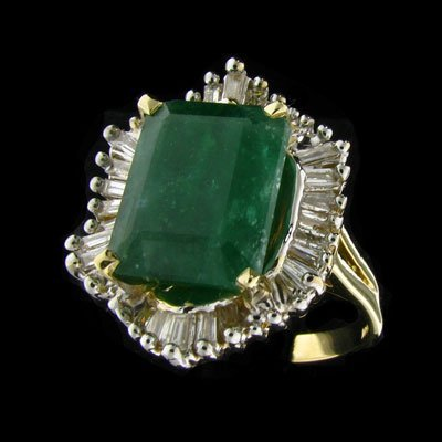 17: APP: 13.9k 14 kt. Y/W Gold, 6.28CT Emerald and Diam