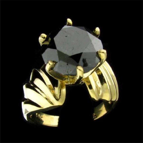7: APP: 9.8k 14 kt. Gold, 4.79CT Rare Black Diamond Rin