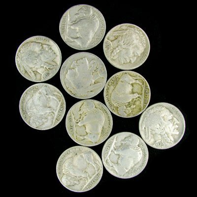 7: 10 Misc. U.S. Buffalo Type Nickel Coin-Investment Po