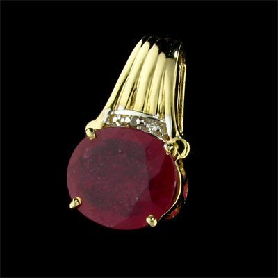 17: APP: 3.9k 14 kt. Gold, 4.05CT Ruby and Diamond Pend