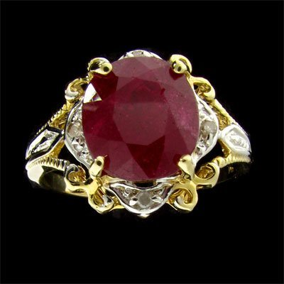 25: APP: 11.5k 14 kt. Gold, 5.09CT Ruby and Diamond Rin