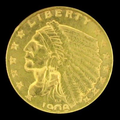 35: 1908 $2.5 U.S. Indian Head Type Gold Coin-Investmen