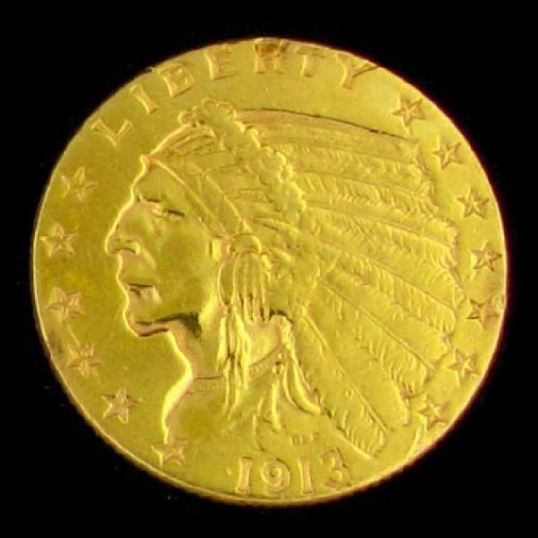 137: 1913 $2.5 U.S. Indian Head Type Gold Coin-Investme