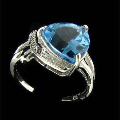 5: 14 kt. White Gold, 4.28CT Blue Topaz and Diamond Rin