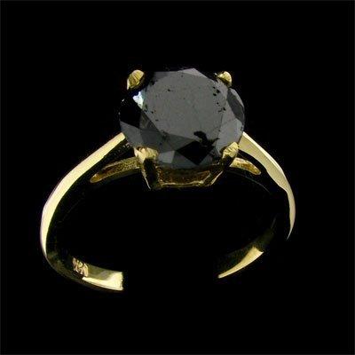 23: APP: 3.3k 14 kt. Gold, 2.02CT Rare Black Diamond Ri