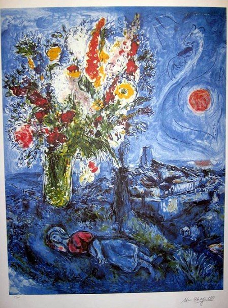 25: MARC CHAGALL La Dormeuse Aux Fleurs Print-Limited E