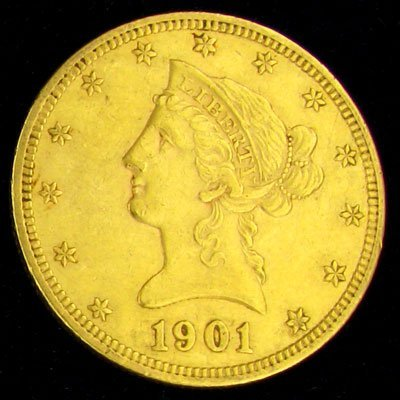 71: 1901 10 U.S Liberty Head Type Gold Coin-Investment