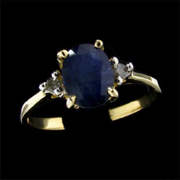 25: APP: 1k 14 kt. Gold, 1.39CT Sapphire and Diamond Ri
