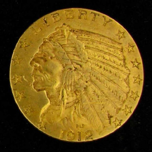 35: 1912 $5 U.S. Indian Head Type Gold Coin-Investment