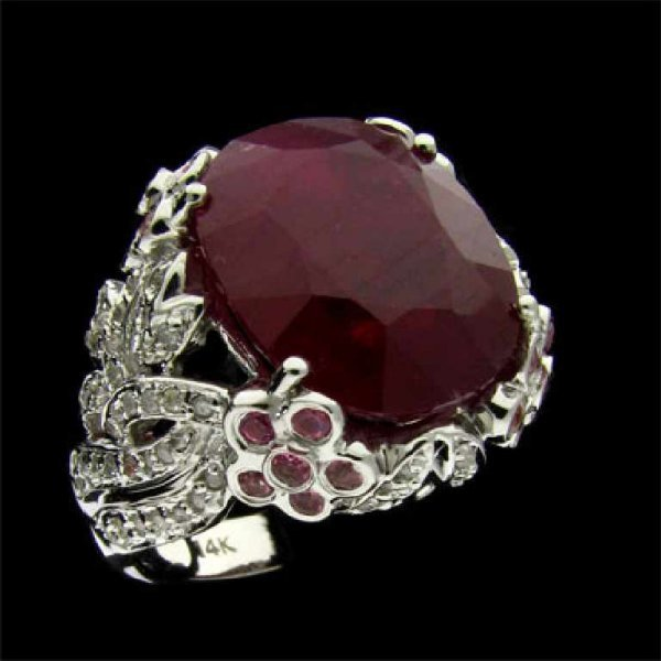 49: APP: 27.6k 14 kt. White Gold, 12.93CT Ruby and Diam