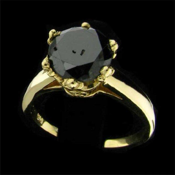 7: APP: 4.2k 14 kt. Gold, 2.56CT Rare Black Diamond Rin