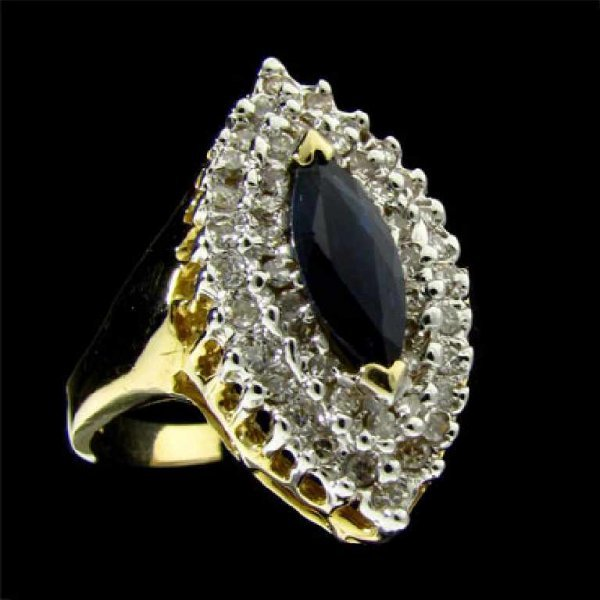 41: APP: 3.7k 14 kt. Gold, 0.72CT Sapphire and Diamond