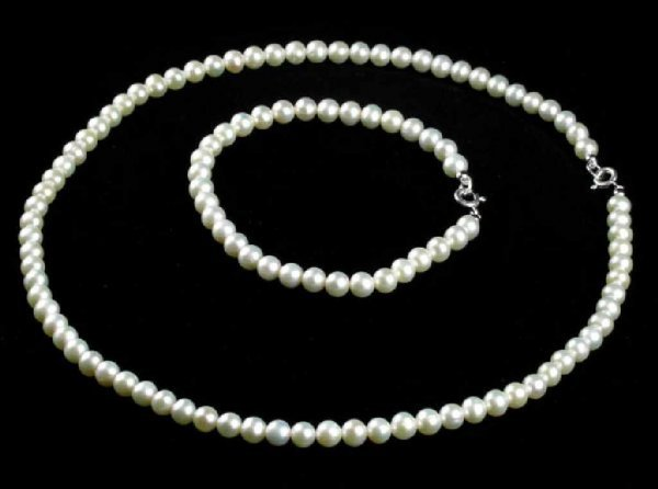45: Pearl 16'' Pearl Necklace and 6'' Bracelet Set