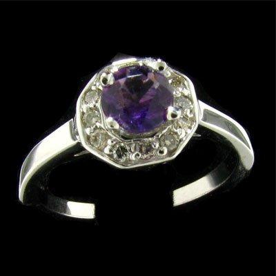 14 kt. White Gold, 0.59CT Amethyst & Diamond Ring