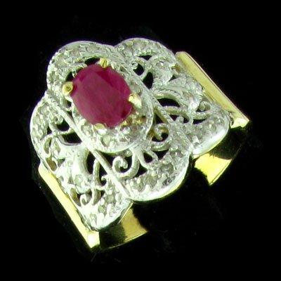 APP: 1.9k 14 kt. Gold, 0.74CT Ruby & Diamond Ring