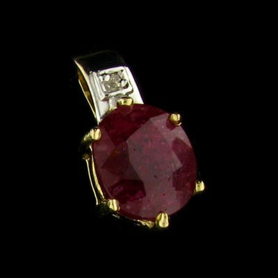 14 kt. Gold, Ruby Pendant - Precious Gem