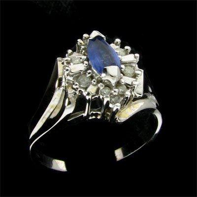 14 kt. White Gold, 0.38CT Sapphire & Diamond Ring