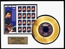 John Lennon ''Number 9 Dream'' Gold Record W/ Stamps