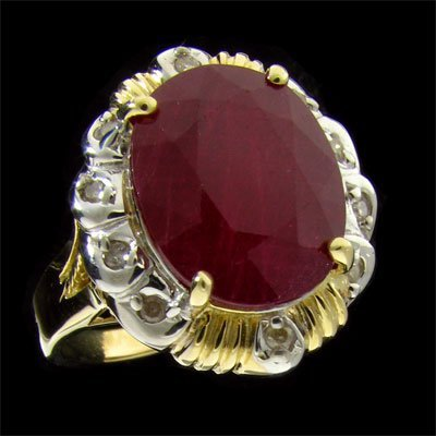 APP: 12.9k 14 kt. Gold, 8.30CT Ruby & Diamond Ring