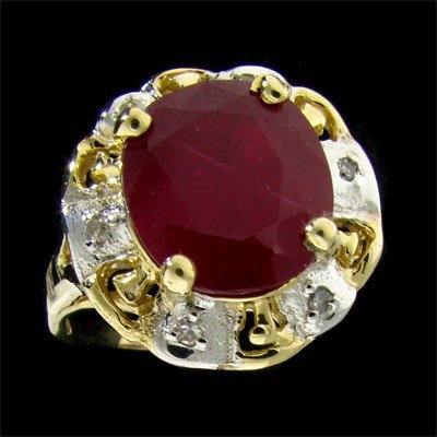 APP: 13.9k 14 kt. Gold, 5.43CT Ruby & Diamond Ring
