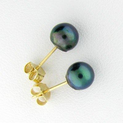 14 kt. Gold, Black Pearl Earrings