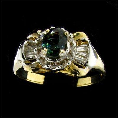APP:$1.2k 14 kt. Gold, .50CT Green Sapphire & Dia. Ring