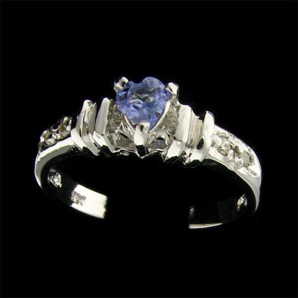 14 kt. W. Gold, 0.22CT Tanzanite & Diamond Ring